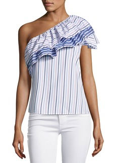 Parker Mary Asymmetric Striped Cotton Top  Blue Pink Multi
