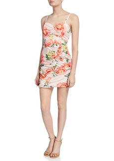 Parker Meena Ruched Floral-Print Sweetheart Mini Dress