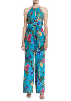 Parker Megara Silk Side-Split Halter Jumpsuit