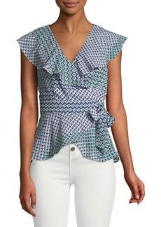 Parker Melinda Geometric Short-Sleeve Wrap Blouse