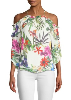 Parker Mildred Floral-Print Cold-Shoulder Top