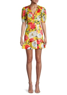 Parker Minna Floral Puff-Sleeve Flare Dress