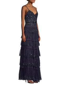 Parker Miranda Sequined Ruffled Tiered Gown