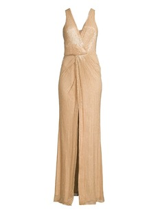 Parker Monarch Beaded Silk Gown