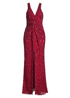 Parker Monarch Plunging Beaded Gown
