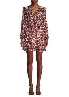 Parker Monet Animal Print Faux-Wrap Mini Dress