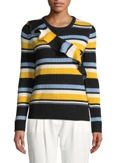 Parker Montego Striped Ruffle Wool-Blend Sweater