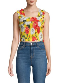 Parker Moonstar Shirred Floral Cotton Crop Top