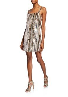 Parker Nava Sequin-Stripe Sleeveless Mini Shift Dress