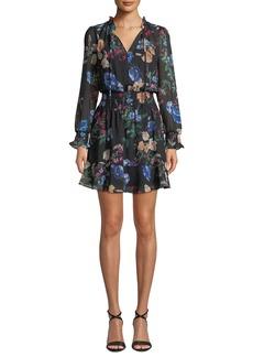 Parker Paisley Floral Long-Sleeve Ruffle Mini Dress