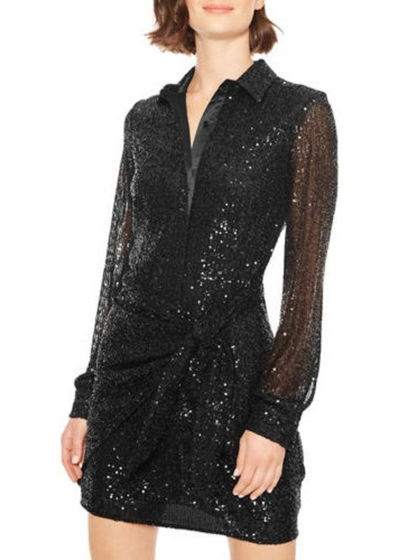 Parker Palmas Sequined Tie-Waist Cocktail Dress