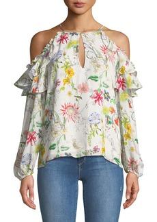 Parker Abby Cold-Shoulder Floral-Print Silk Blouse