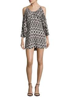 Parker Agave Geometric-Print Silk Cold-Shoulder Dress