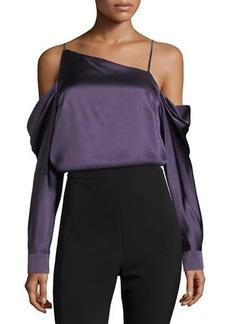 Parker Amelia Asymmetric Silk Satin Blouse