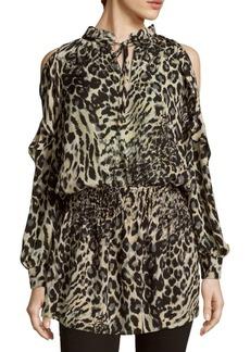 Parker Animal-Print Cold-Shoulder Dress