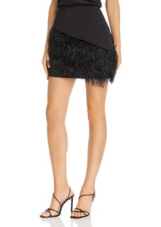 Parker April Faux-Feather-Embellished Mini Skirt
