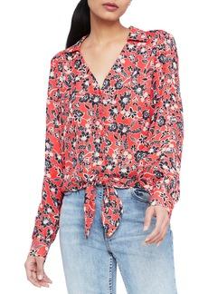 Parker Ari Print Tie Front Silk Blouse