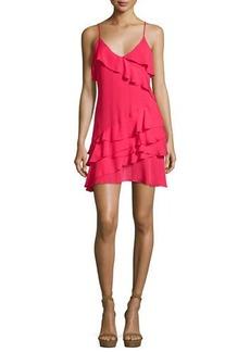 Parker Athens Silk Tiered Ruffled Mini Dress