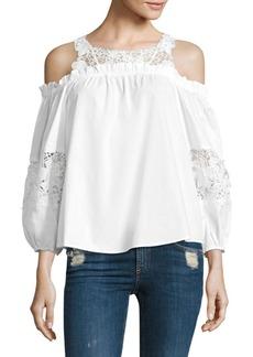 Parker Auburn Cotton Lace Cold Shoulder Blouse