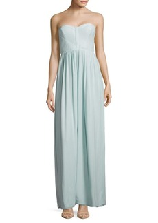 Parker Bayou Pleated Strapless Gown