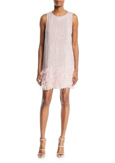 Parker Allegra Beaded Tank Cocktail Dress w/ Feather Hem