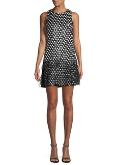 Parker Allegra Dot Mini Dress w/ Feather Hem