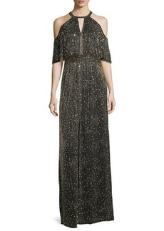 Parker Black Amy Beaded Cold-Shoulder Evening Gown