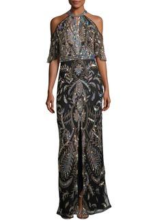 Parker Black Amy Cold-Shoulder Sequin Evening Gown