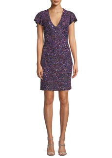 Parker Audry V-Neck Metallic Beaded Mini Cocktail Dress