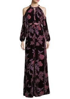 Parker Black Casa Cold-Shoulder Floral Velvet Evening Dress