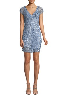 Parker Daley Mini Cocktail Dress w/ Beaded Caplet
