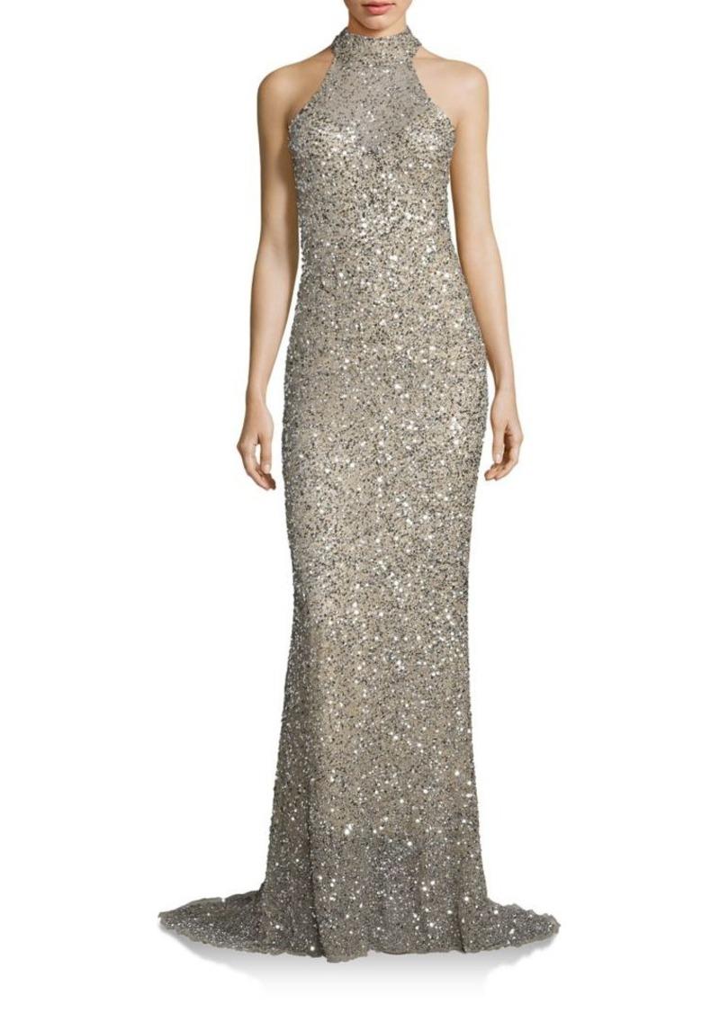 SALE! Parker Parker Black Elise Sequin Halter Gown