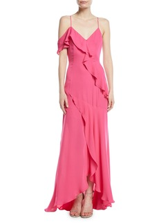 Parker Emilia Asymmetric Ruffle High-Low Gown