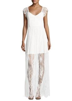 Parker Black Erika Cap-Sleeve Floral Lace Column Gown