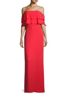 Parker Black Helen Tiered Off-the-Shoulder Silk Gown