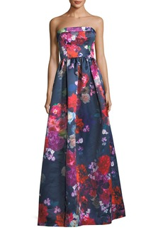 Parker Black Janie Strapless Floral Evening Gown