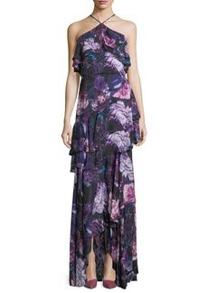 Parker Black Jodie Halter Evening Gown in Floral Print