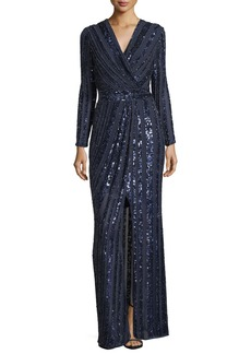 Parker Joyce Long-Sleeve Sequin & Bead Evening Gown