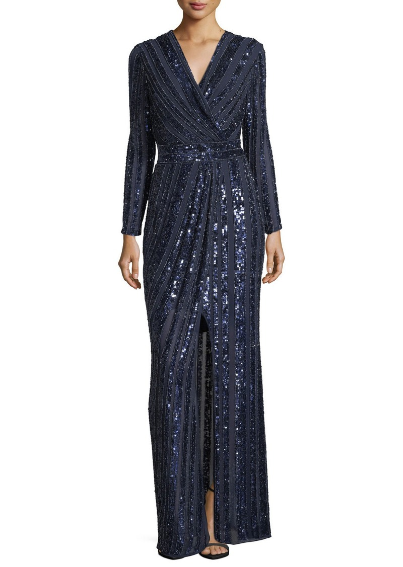Parker Joyce Long-Sleeve Sequin & Bead Evening Gown Now $441.00 ...