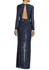Parker Joyce Long-Sleeve Sequin & Bead Evening Gown