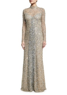 Parker Leandra Long-Sleeve Beaded Gown