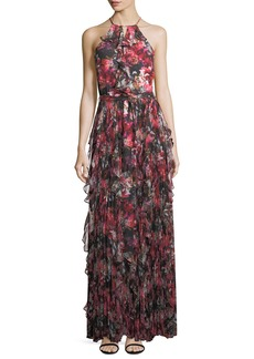Parker Black Mellie Halter Floral-Print Ruffled Chiffon Evening Gown