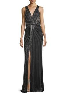 Parker Black Monarch Beaded V-Neck Sleeveless Evening Gown