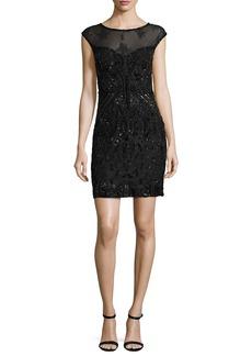 Parker Black Montclair Cap-Sleeve Beaded Lace Cocktail Dress