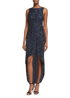 Parker Nellie Sleeveless Beaded High-Low Gown