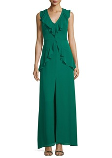 Parker Black Rossie Deep-V Sleeveless Column Evening Gown w/ Ruffled Trim
