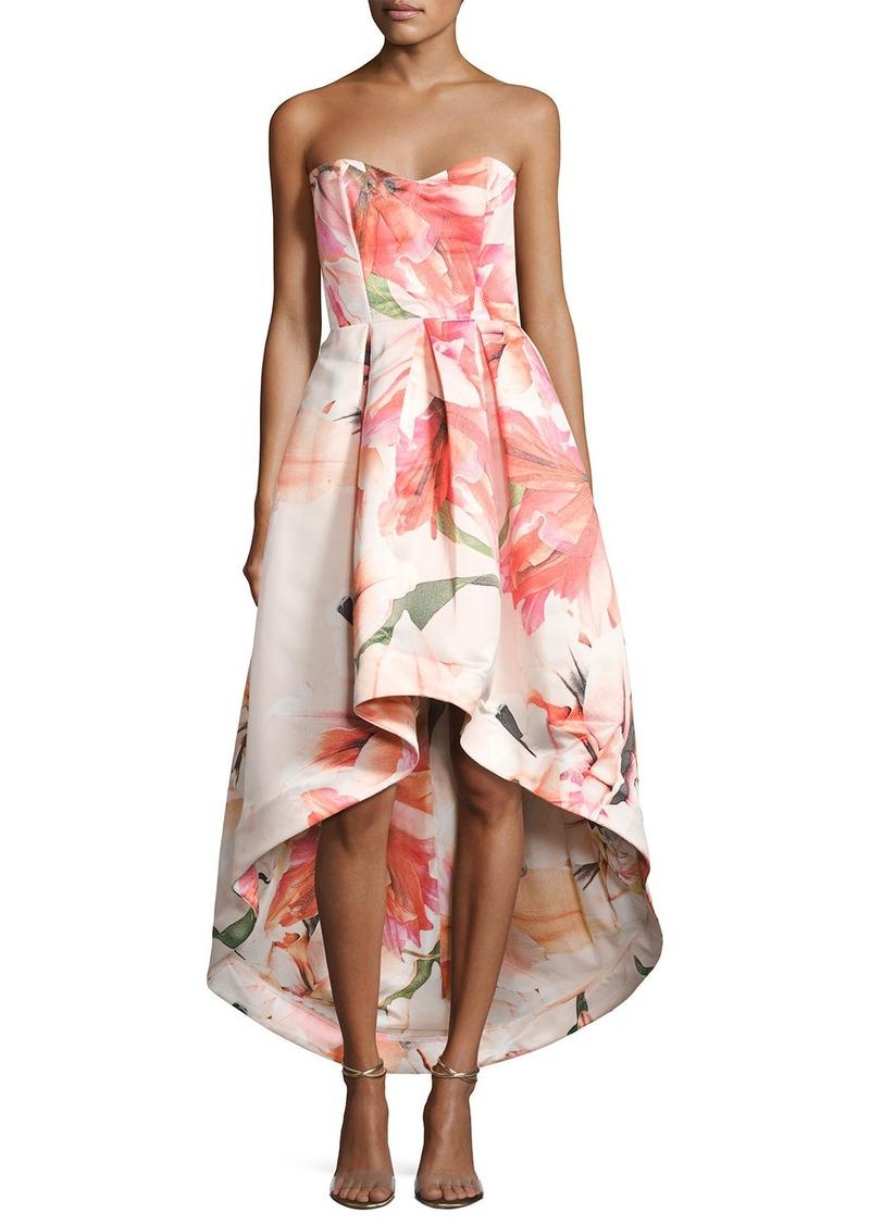 Parker Parker Black Roxanne Strapless Floral Satin High-Low Gown ...