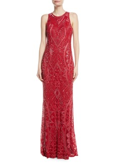 Parker Seanna Beaded Sleeveless Column Gown