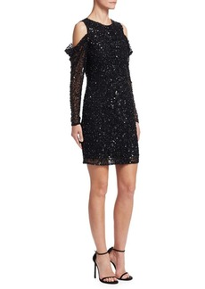 Parker Sequined Cold-Shoulder Dress