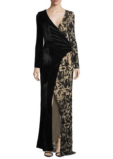Parker Stacey Velvet & Embellished Faux-Wrap Evening Gown